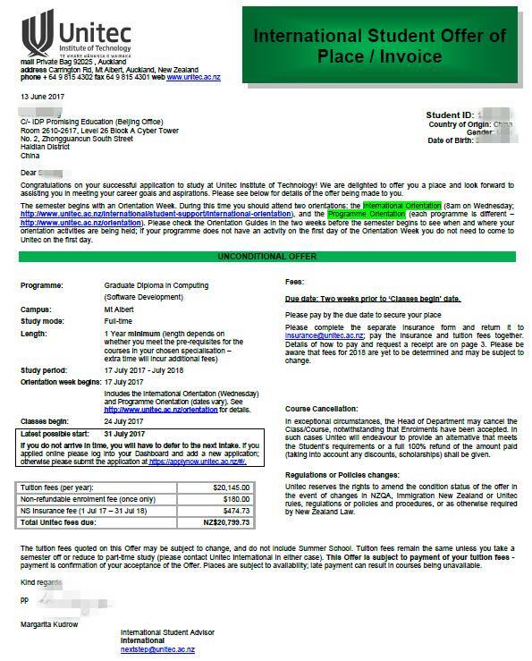 IDP诺思留学-UNITEC理工学院录取offer