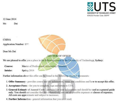 悉尼科技大学成功案例offer