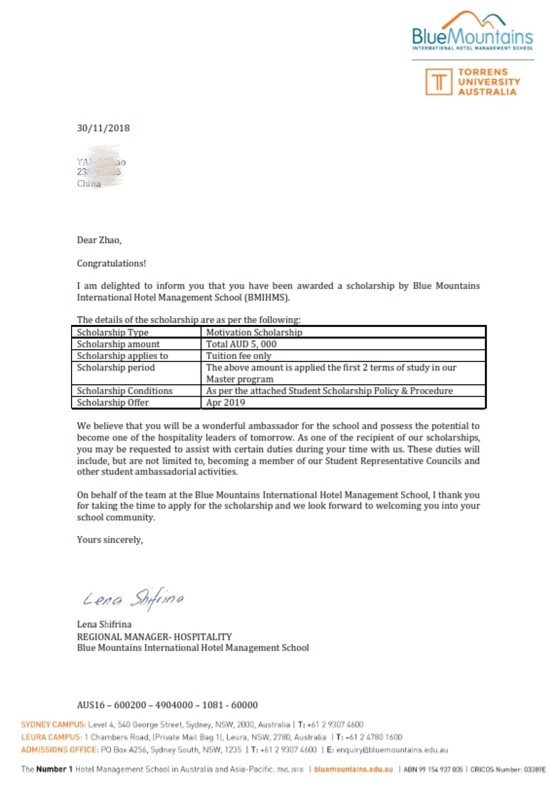 IDP留学成功案例-蓝山国际酒店管理学院奖学金